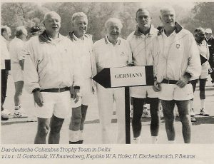 Das deutsche Columbus Trophy Team in New Delhi: v. l. n.r.: Uwe Gottschalk, W. Rautenberg, Kapitän Wolfgang A. Hofer, Harald Elschenbroich, P. Baums